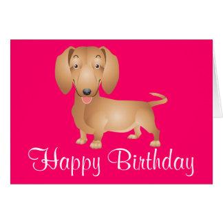 Tarjeta del rosa del feliz cumpleaños del perro de