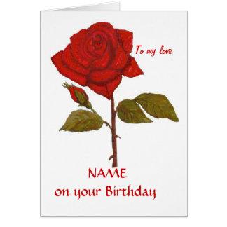 Tarjeta del rosa rojo del cumpleaños. Personalícel
