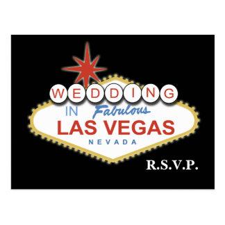 Tarjeta del rsvp del boda de Vegas Postal