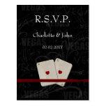 Tarjeta del rsvp del boda de Vegas Tarjeta Postal