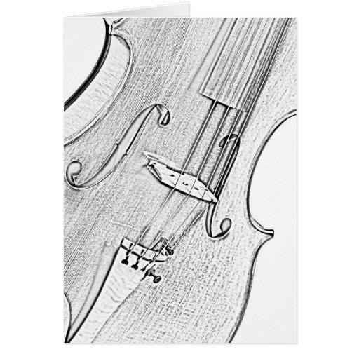 Tarjeta del saludo o de nota del dibujo del violín