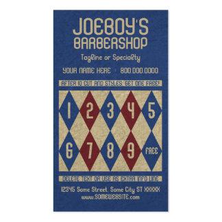 tarjeta del sello de los diamantes de la barbería tarjetas de visita