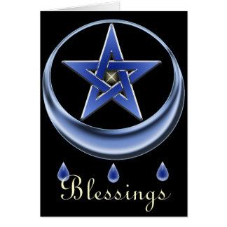 Tarjeta del símbolo y del Pentagram de la bendició