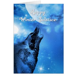 Tarjeta del solsticio de invierno del lobo del