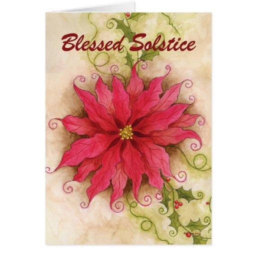 Tarjeta del solsticio del Poinsettia y del acebo