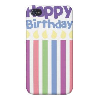Tarjeta del stripey del feliz cumpleaños iPhone 4 carcasas