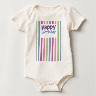 Tarjeta del stripey del feliz cumpleaños mamelucos de bebé