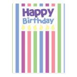 Tarjeta del stripey del feliz cumpleaños postal