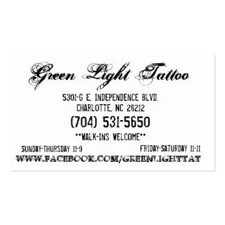 Tarjeta del tatuaje de la luz verde tarjetas de visita