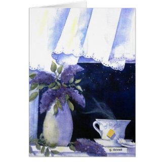 Tarjeta del té y de las lilas