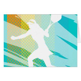 Tarjeta del tenis con la impresión femenina del
