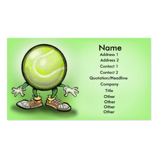 Tarjeta del tenis plantillas de tarjeta de negocio