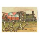 Tarjeta del tren del huevo de Pascua del vintage