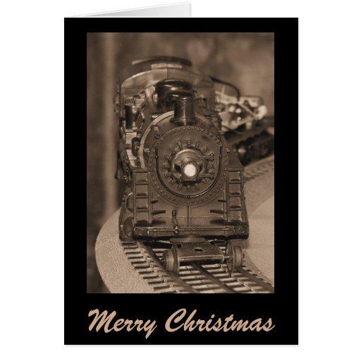 Tarjeta del tren del modelo de las Felices Navidad