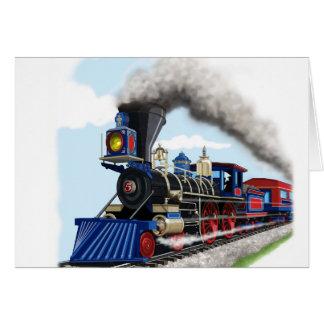 tarjeta del tren del vapor de los niños