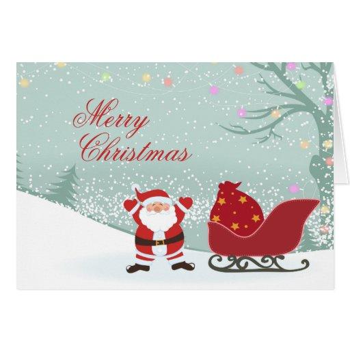 Tarjeta del trineo de Santa de las Felices Navidad