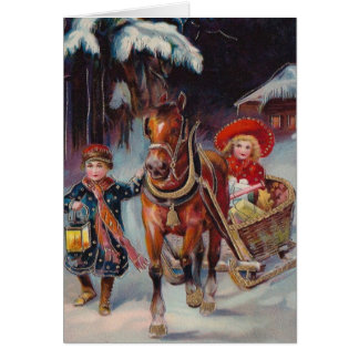 Tarjeta del trineo del navidad