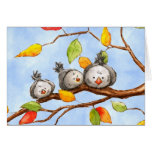 Tarjeta del trío de los pájaros del otoño