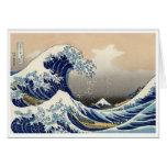 Tarjeta del tsunami de Ukiyo-e - de Hokusai