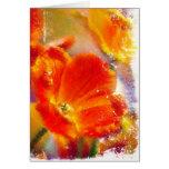 Tarjeta del Tulipán-saludo que brilla intensamente