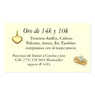Tarjeta del vendedor del oro tarjetas de visita