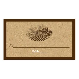 Tarjeta del viñedo del vintage y del lugar del tarjetas de visita