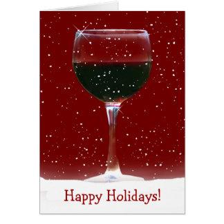 Tarjeta del vino rojo buenas fiestas