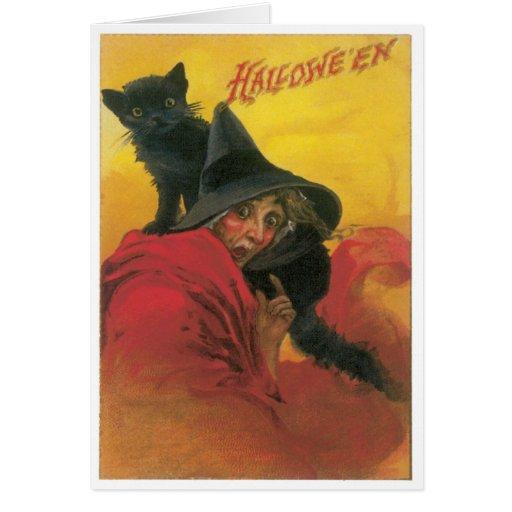 Tarjeta del vintage de la bruja y del gato negro