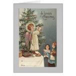 tarjeta del vintage del ángel del navidad