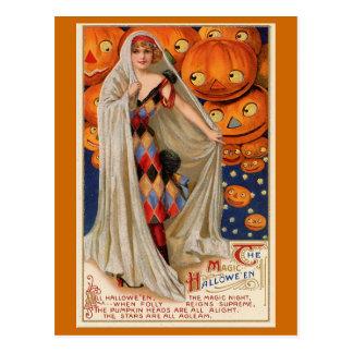 "Tarjeta del vintage ""del Halloween mágico"" Tarjetas Postales"
