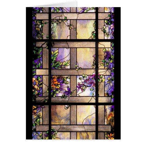Tarjeta del vitral de Nouveau del arte de Tiffany