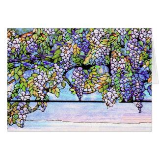 Tarjeta del vitral de Tiffany de las glicinias