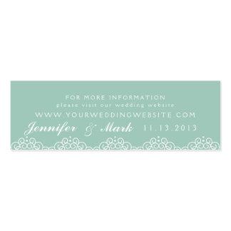Tarjeta del Web site del boda del tapetito del Tarjetas De Visita Mini
