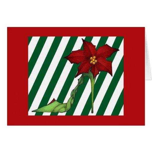 Tarjeta del zapato del navidad del Poinsettia