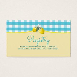 Tarjeta deliciosa del registro del boda del limón tarjetas de visita
