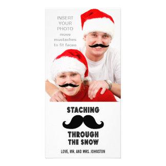 Tarjeta divertida de la foto del navidad del bigot tarjeta fotográfica personalizada