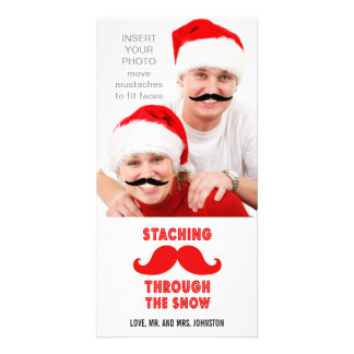 Tarjeta divertida de la foto del navidad del bigot tarjeta personal