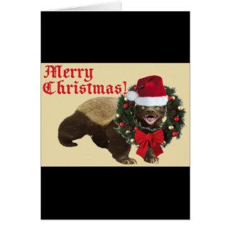 Tarjeta divertida de las Felices Navidad del tejón
