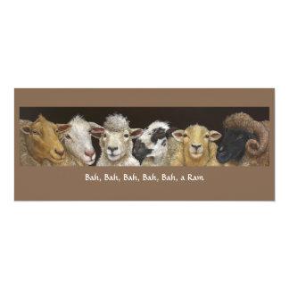 """Tarjeta divertida de las ovejas invitación 4"""" x 9.25"""""""