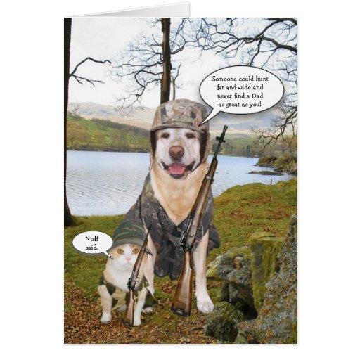 Tarjeta divertida del día del perro de caza/de pad