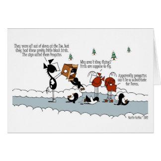Tarjeta divertida del dibujo animado del invierno