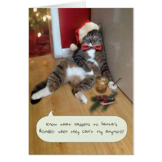 Tarjeta divertida del gato del día de fiesta, el r