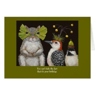 tarjeta divertida del pájaro/animal de cumpleaños
