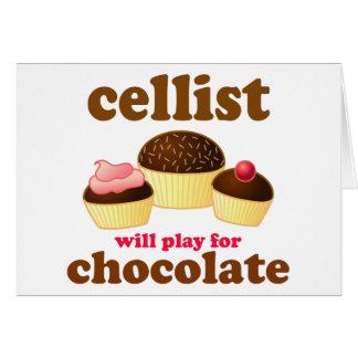 Tarjeta divertida del violoncelo del chocolate