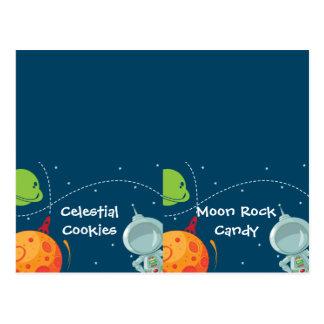 Tarjeta doblada etiqueta de la comida del espacio  tarjeta postal