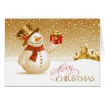 Tarjeta doblada muñeco de nieve de las Felices Nav