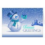 Tarjeta doblada muñeco de nieve de los saludos de