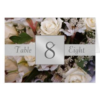 Tarjeta doblada número de la tabla de los rosas bl