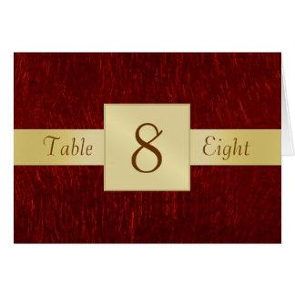Tarjeta doblada número roja de la tabla del granat