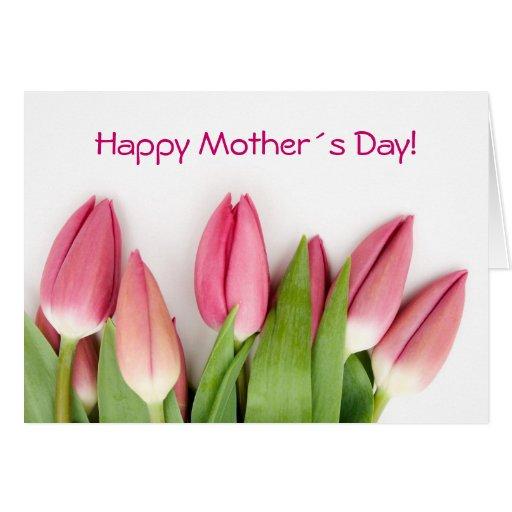 Tarjeta doblada tulipanes rosados